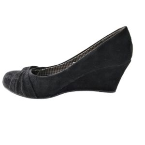 Dexflex Comfort Black Suede Wedge Shoe 5